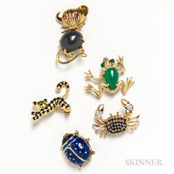 Five Gold Animal Brooches