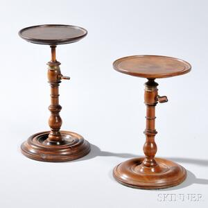 Two Adjustable Turned Wood Lamp Stands