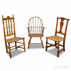 Sack-back Windsor Chair, a Chippendale Tiger Maple Chair, and a Maple Banister-back Chair.     Estimate $250-350