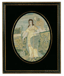 "Painted Silk and Needlework Picture Depicting ""Liberty in the Form of the Goddess of Youth"" after Edward Savage"