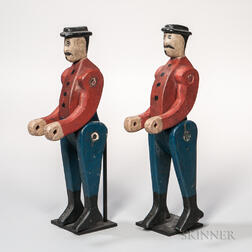 Pair of Carved and Painted Articulated Mustachioed Men
