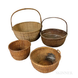 Four Round Nantucket Baskets