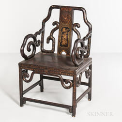Lacquered Chinoiserie Armchair