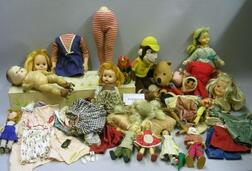 Large Lot of Plastic, Vinyl, and Miscellaneous Dolls and Clothing
