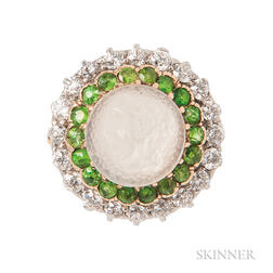 Moonstone Cameo, Demantoid Garnet, and Diamond Ring