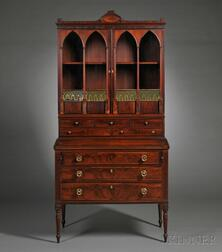 Federal Mahogany Carved and Inlaid Lady's Secretary-bookcase
