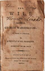 Washington, George (1732-1799) The Will of General George Washington.