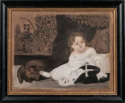 Charcoal Picture of a Girl and Dog