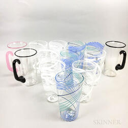 Ten Charlie Meaker Glasses and Three Cowdy Glass Workshop Lead Crystal Mugs
