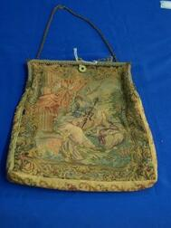 French Beaded Gilt-metal Framed Petit Point Purse.