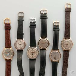 Three Triple Calendar and Three Other Men's Wristwatches