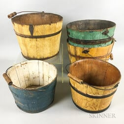 Five Painted Stave-constructed Swing-handle Buckets
