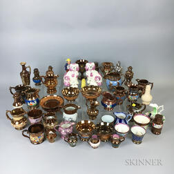 Large Group of Mostly Copper and Pink Lustre Ceramic Items.