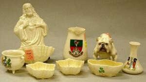 Eight Assorted Belleek and Doulton Porcelain Items.