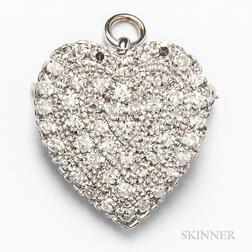 14kt White Gold and Diamond Heart Pendant/Brooch