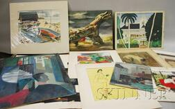 Portfolio of works including 10 signed by Bee Johnson (American, 20th Century)
