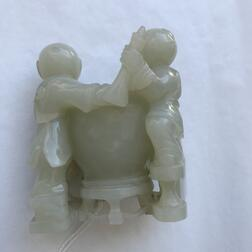 Nephrite Jade Carving of Two Boys