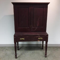 Country Red-painted Pine Desk/Bookcase