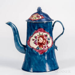 Staffordshire White Salt-glazed Stoneware Blue-ground Coffeepot and Cover