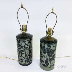 Pair of Miranda Thomas Floral-decorated Studio Pottery Table Lamps