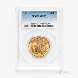 1911 $10 Indian Head Gold Coin, PCGS MS63.     Estimate $600-800