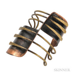 "Copper and Brass ""Modern Cuff"" Bracelet, Art Smith"