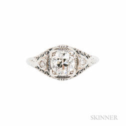 Art Deco 18kt White Gold and Diamond Solitaire