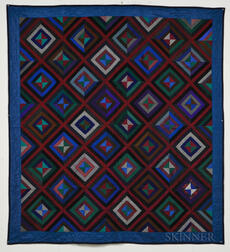 "Mennonite ""Chevron Log Cabin"" Quilt"