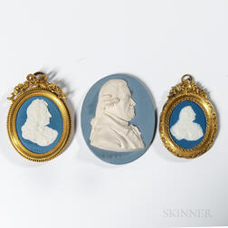 Three Wedgwood & Bentley Jasper Portrait Medallions