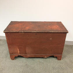 Red-painted Six-board Chest