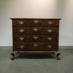 Chippendale Carved and Inlaid Mahogany Bow-front Chest of Drawers