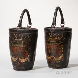 Pair of Paint-decorated Leather Fire Buckets