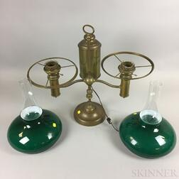 Brass and Glass Double Student Lamp