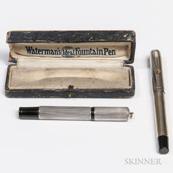 Two Metal Overlay Fountain Pens