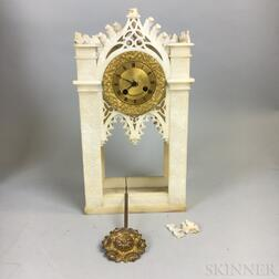 Gothic Revival Alabaster and Brass Cathedral-form Mantel Clock