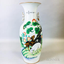 Large Enameled White Porcelain Vase