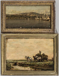 Two Small Framed Oil Paintings of a Harbor and a Farm Scene.     Estimate $100-200