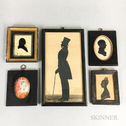 Four Framed Silhouettes and a Portrait Miniature
