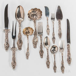 "Whiting ""Lily"" Pattern Sterling Silver Flatware Service"