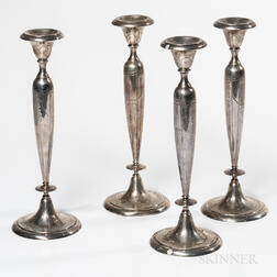 Four Shreve & Co. Sterling Silver Candlesticks