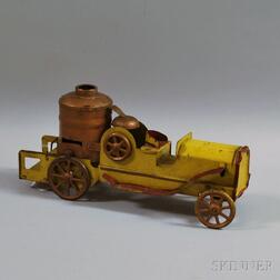Vintage Sheet Metal Friction-driven Pumper Wagon Toy