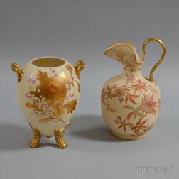 Two English Floral-decorated Ceramic Vessels