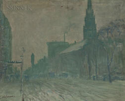 Arthur Clifton Goodwin (American, 1866-1929)      View of Boylston Street and the Arlington Street Church