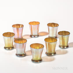 Eight Kew Blas Iridescent Gold Glass Tumblers