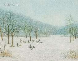 American School, 20th Century      Winter Scene with Figures