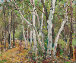 Carl William Peters (American, 1897-1980)      On the Path through the Birch Grove
