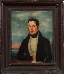 American School, 19th Century    Portrait of Nantucket Sea Captain Russell with View of Nantucket.