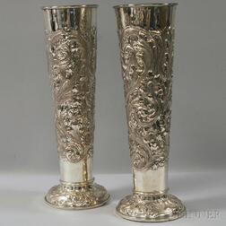 Pair of Silver-plated Repousse Floor Vases