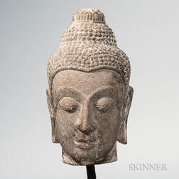 Carved Stone Buddha Head