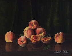 American School, 19th Century    Still Life with Peaches on a Tabletop